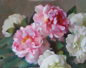"Original 12x16 Oil Painting ""Peonies Pink and White"" Floral Painting Realist Academic Floral Painting Boston School RSAG Rat Scullery Art"