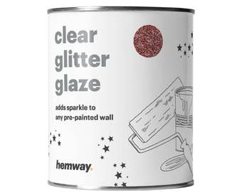 Hemway 1L Clear Glitter Paint Glaze for Pre-Painted Walls  - Rose Gold