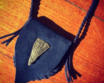Tribal Medicine Pouch/Bag Leather Pyrite Crystal