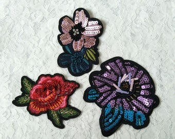 3pcs hand-made beaded embroidery patches/beaded patches /beaded applique decorative garment/bags/shoes
