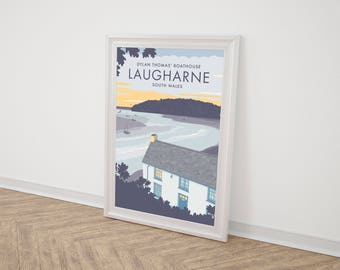 Large (80cm x 68.58cm) Vintage Style Travel Poster Print - Dylan Thomas' Boathouse in Laugharne