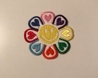 Smiley face heart patch