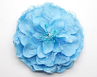 2 Blue Big Lace Flower Hair Clips Brooches 10cm