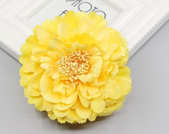 2 Yellow Peony Big Flower Hair Clips Brooches 10cm