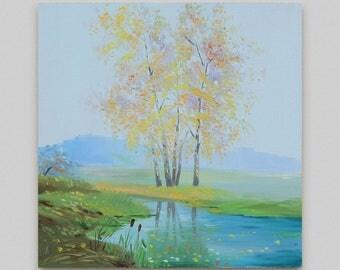 Landscape oil painting Original painting Small landscape Canvas art Realism  Autumn landscape oil Autumn wood Wall art Discount art