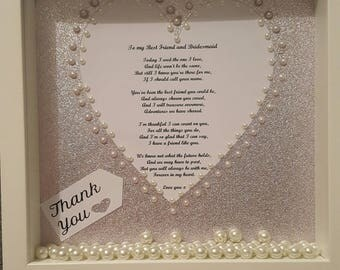 Wedding day gift frame.. bridesmaid, mother of the bride, mother of the groom, maid of honour, flowergirl