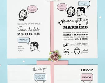 1950s Retro Wedding Invitation Set of 4 Printable Templates