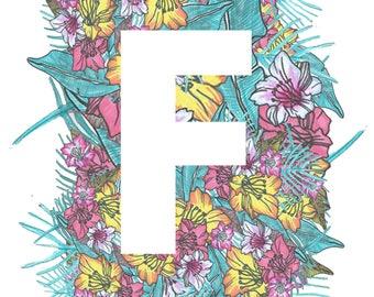 Personalised Letter Print Tropical- F-J- Downloadable, Printable Art