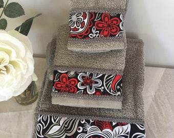 Gray red and white decorative towel