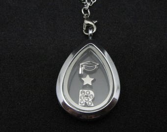 Graduation Teardrop Shaped Locket