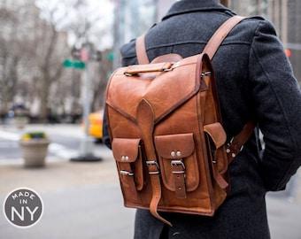 """16"""" Inch Mens Vintage Genuine Leather Laptop Backpack Messenger Bag USA MADE"""