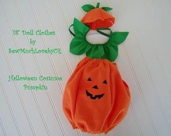 "18"" Doll Clothes, Pumpkin halloween costume, Fits American Girl Dolls, Fits Our Generation dolls"