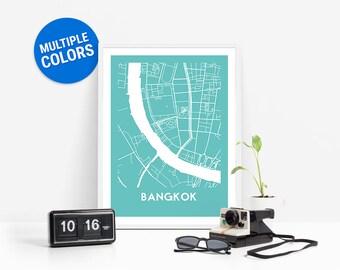 Bangkok Full Color Map Print   Bangkok Thailand Map   Bangkok Art