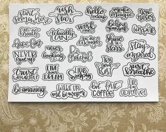 START SOMEWHERE - Planner Stickers / Hand Lettering Sticker Quotes / Happy Planner Stickers / Erin Condred / Mini Happy Planner Stickers
