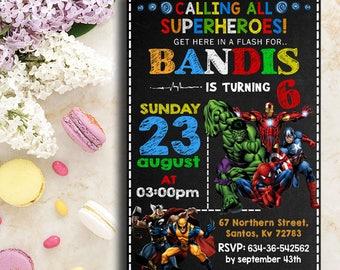 Superhero Invitation, Superhero Avenger Birthday Invitation, Avenger Invitation, Boy Invitation, Birthday Invitation, Spiderman Invitation