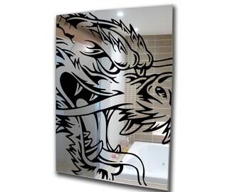 Decorative mirror-decal mirror-acrylic mirror dragon stencil mirror-home decor-3mm framed acrylic mirror wall art A2 A3 A4 A5 custom mirror