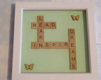 Learn Read Inspire Dreams Scrabble Art