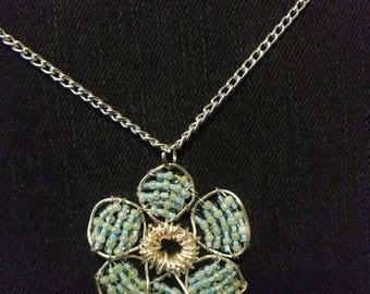 Beaded Flower Necklace Pendant Medium