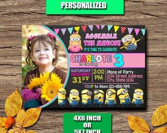 Minion Invitation / Minion Birthday Invitation / Minion Party / Minion Birthday / Minion Invite / Minion Printable / Minion Girl / Minion
