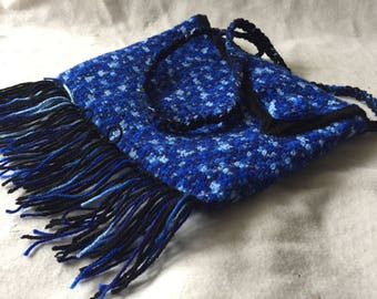 Blue hand bag with fringes hand crocheted - unique