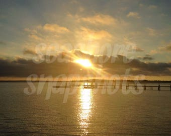 Sunset Over the Dock Cottage Decor Instant Download Beach Photography / Ocean Photography / Landscape Photography
