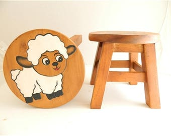 Childs Childrens Wooden Stool - White Sheep Step Stool.