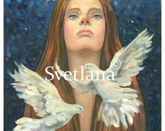 "Limited edition print of original painting by Svetlana Zhelyazkova ""Wish for the Love of Doves"""