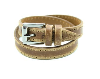 WOOD BELT bracelet - Casual,  hand-crafted from natural leather, fits perfectly with a plain pair of jeans, wraps 2 times around the wrist