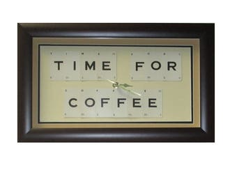 Time For Coffee Word Art Clock