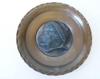 """Vintage cooper plate decoration, 5-1/4""""  (#EV78)"""