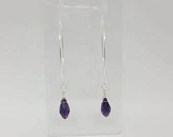 Handmade 925 Sterling Silver Pull Through Purple Briolette Drop Earrings