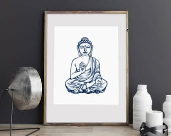 Wall Art Print, Buddha namaste, Yoga, Meditate, Nirvana, Peaceful, Illustration