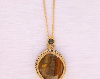 Micromacrame neckles with Tiger eye gemstone