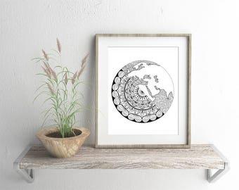 Earth Mandala Artwork - Giclee Fine Art Print