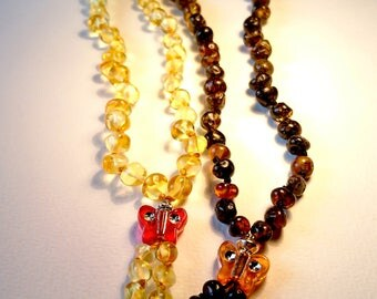 Natural Baltic Amber Teething Necklace for Baby with Butterfly