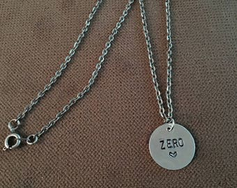 Zero hand stamped band necklace Smashing Pumpkins 90's jewelry SP