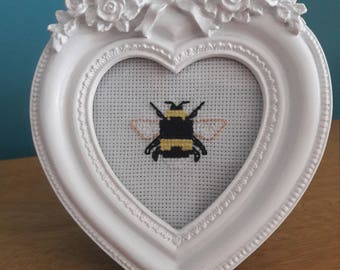 Bee completed cross stitch