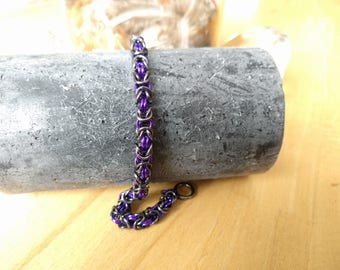 Byzantine weave chain maille bracelet Gunmetal and Purple
