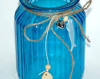 Blue Glass Candle Holder,Home Decor,Beach Candle Holder,Garden Outdor Lantern,Wedding Decor,Glass Vintage Provence Candle,Home Accent Decor