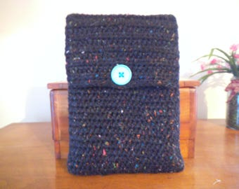 Handmade Crocheted Netbook Laptop Sleeve with Button Black with Rainbow Flecks