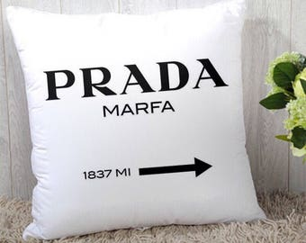 Prada marfa sign cushion cover