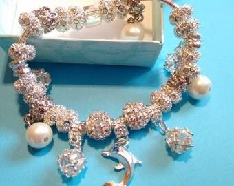 Pandora Style European Charm Bracelet,Silver Plated