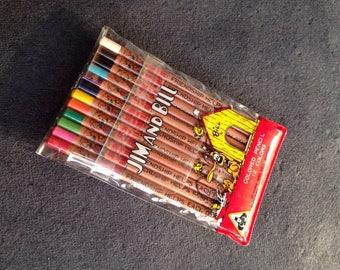 Vintage MIDORI - Mini 12 Colored pencils , Jim and Bill