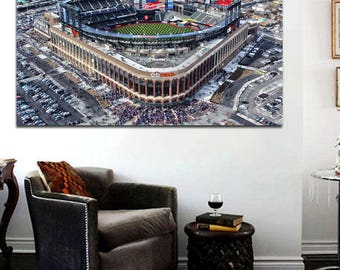 Citi Field New York Mets Stadium Large 36 x 24 Ariel View Drone Shot
