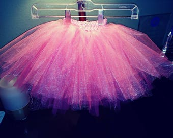 Full 3 tiered infant crochette waisted tutu. Every infant girl dreams of pink!