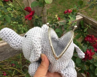 Crochet Elephant Coin Purse