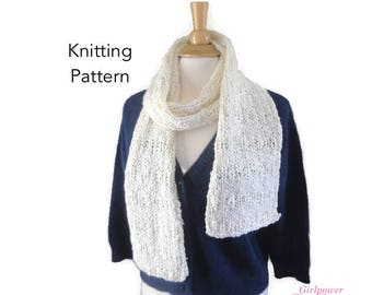 Quick Knit Scarf Knitting Pattern for Beginner, Chunky Scarf Pattern, Fun & Fashion