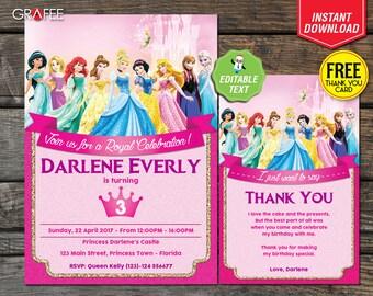 Disney Princess Birthday Invitation Card Party - EDITABLE Text Cinderella Ariel Aurora Belle Snow White Frozen Elsa Ana, FREE Thank You Card