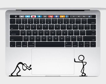 Stickmen Pushing Macbook Trackpad, Funny Decals, Macbook Stickers, Trackpad Decals, Hipster Decal, Hipster Sticker, Stickman Decal, Stickman
