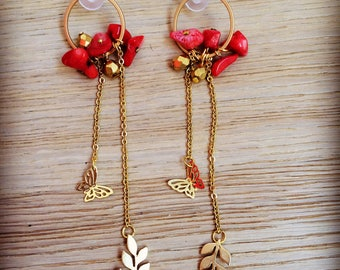 Coral bead earrings